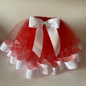 Red  tulle skirt with whit satin trim